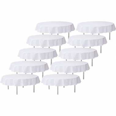 10x witte bruiloft tafeldecoratie versiering rond stoffen tafelkleed 240 cm