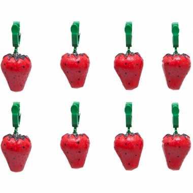 12x buitentafelkleed gewichten aardbeien 4 cm