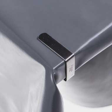 12x tafelkleed klemmen zilver 5 x 4 cm rvs