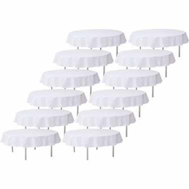 12x witte bruiloft tafeldecoratie versiering rond stoffen tafelkleed 240 cm
