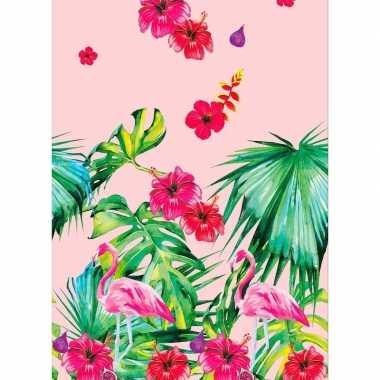 1x zomers thema feest tafelkleden/tafellakens 138 x 220 cm flamingo p