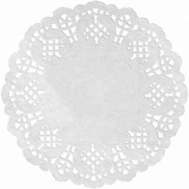 20x witte bruiloft tafeldecoratie versiering placemats 35 cm rond kan