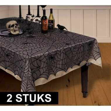 2x feestartikelen kanten tafelkleed spinnenweb 152 x 213 cm