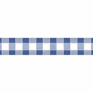 2x feestartikelen papieren tafelkleed blauw/witte ruiten 1000 x 118 c