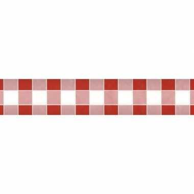 2x feestartikelen papieren tafelkleed rood/witte ruiten 1000 x 118 cm
