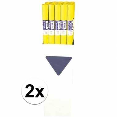 2x gele papieren tafelkleden 800 x 118cm