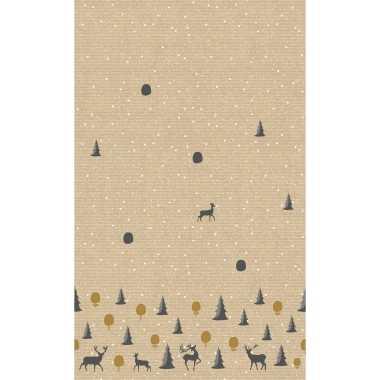 2x kerst thema tafellakens/tafelkleden met rendieren en kerstbomen 138 x 220 cm