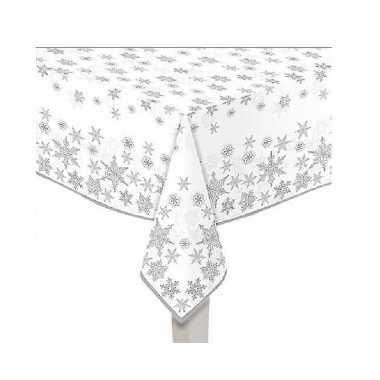 2x papieren tafelkleden wit met zilveren sterren print 120 x 180 cm