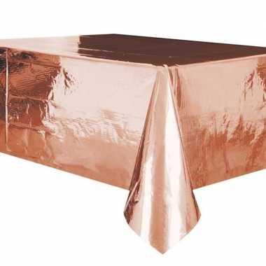 2x rose gouden tafelkleden/tafellakens 137 x 274 cm folie