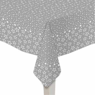 2x stuks papieren tafelkleden zilver met witte sterren print 120 x 180 cm