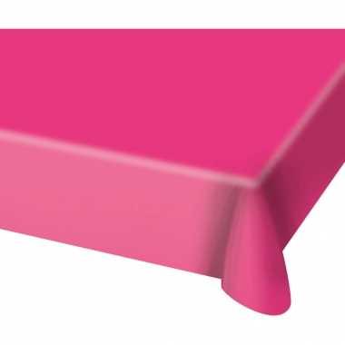 2x stuks tafelkleed van plastic fuchsia roze 130 x 180 cm