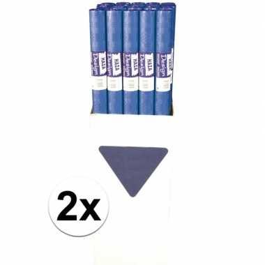 2x tafelkleed blauw op rol 8 meter