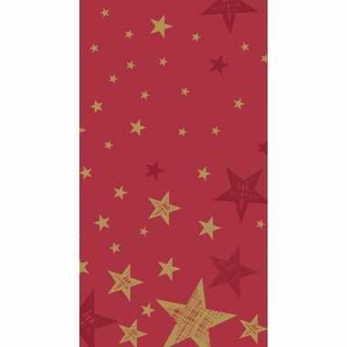 3x feestartikelen papieren kerst tafelkleed rood met gouden sterretje