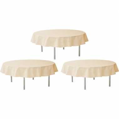 3x ivoorwitte tafeldecoratie versiering rond stoffen tafelkleed 240 cm