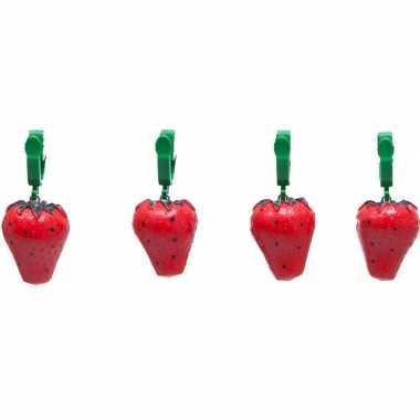 4x buitentafelkleed gewichten aardbeien 4 cm