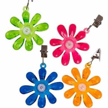 4x buitentafelkleed gewichten gekleurde bloemetjes 6 cm