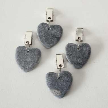 4x stenen tafelkleedgewichtjes hartjes grijs 4 cm