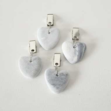 4x stenen tafelkleedgewichtjes hartjes lichtgrijs 4 cm