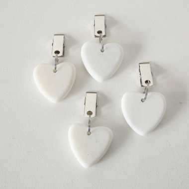 4x stenen tafelkleedgewichtjes hartjes wit 4 cm