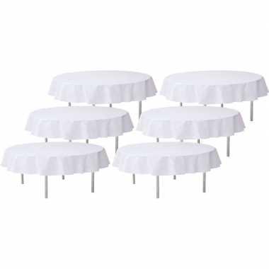 6x witte bruiloft tafeldecoratie versiering rond stoffen tafelkleed 240 cm