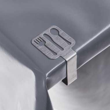 8x tafelkleed klemmen zilver met bestek uitsnede 4,7 x 4,5 cm rvs