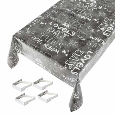 Antraciet/grijs tuin tafellaken voor buiten tekst print 140 x 170 cm