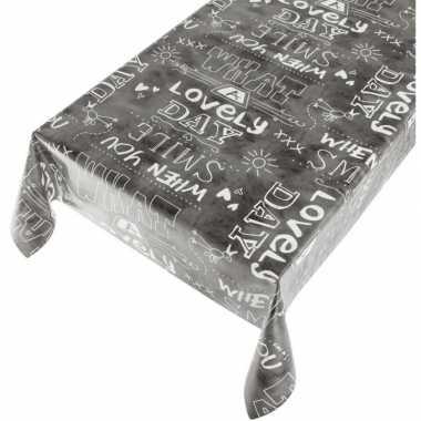 Antraciet tafellaken vrolijke tekst print 140 x 170 cm