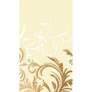Beige krullen print tafelkleed/tafellaken roosjes 138 x 220 cm van pa