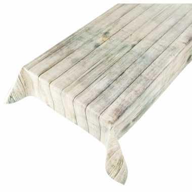 Extreem Beige tafellaken met hout motief 140 x 240 cm   Goedkope FW07
