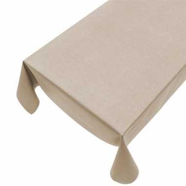Beige tuin tafellaken voor buiten 140 x 240 cm pvc/kunststof