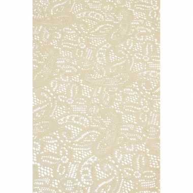 Beige tuin tafellaken voor buiten 140 x 260 cm rechthoekig van kunsts
