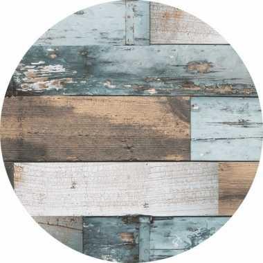 Blauw tuin tafellaken voor buiten hout print 160 cm pvc/kunststof