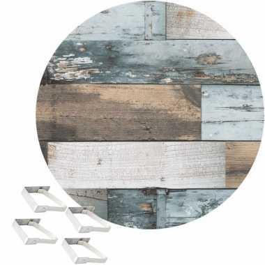 Blauw tuin tafellaken voor buiten hout print 160 cm rond pvc/textiel