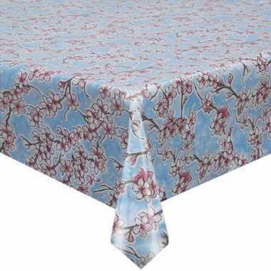 Blauw tuin tafellaken voor buiten kersenbloesem bloemen print 120 x 2