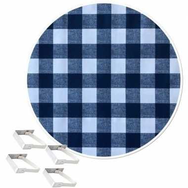 Blauw tuin tafellaken voor buiten witte ruiten 160 cm rond pvc/textie