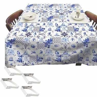 Blauw/witte tuin tafellaken voor buiten delfts blauwe tegels 140 x 25