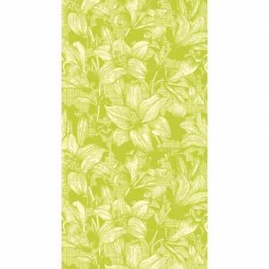 Bloemen lelies print tafelkleed/tafellaken limekleur 138 x 220 cm van