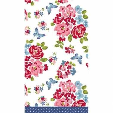 Bruiloft/huwelijk bloemenprint tafelkleed/tafellaken roosjes 138 x 22