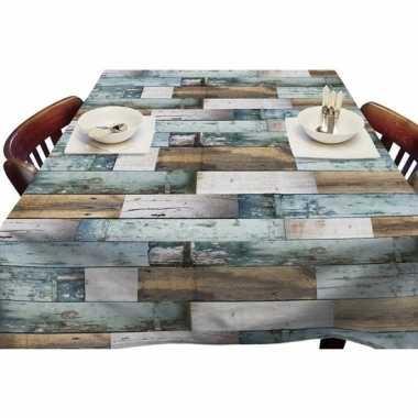 Bruin/blauw tuin tafellaken voor buiten steigerhouten planken print 1