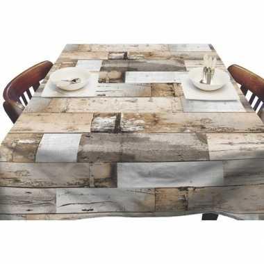 Bruin tuin tafellaken voor buiten steigerhouten planken print 140 x 2