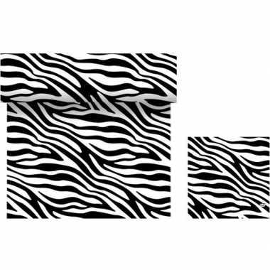 Dieren thema feest servetjes en tafellakens/tafelkleden zebra print z