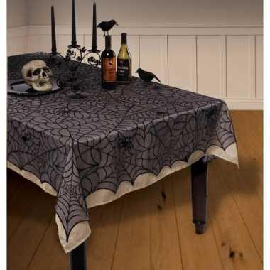 Feestartikelen kanten tafelkleed spinnenweb 152 x 213 cm