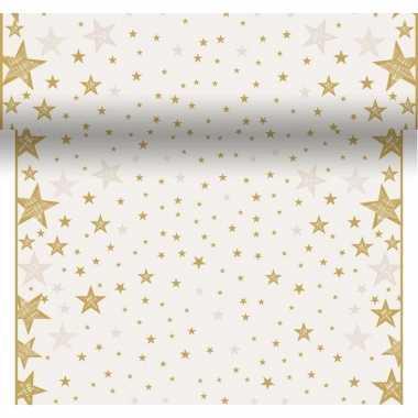 Feestartikelen kerst creme witte/gouden tafelkleden/tafellopers/place
