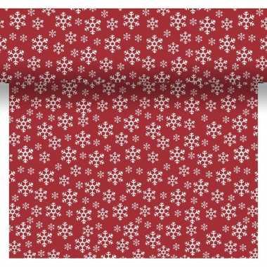 Feestartikelen kerst rode/witte tafelkleden/tafellopers/placemats met sneeuwvlokjes print 40 x 480 cm