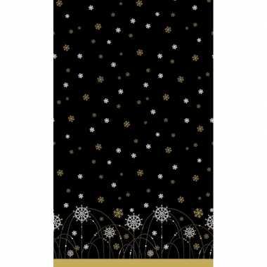 Feestartikelen papieren kerst tafelkleed zwart met zilveren/gouden sn