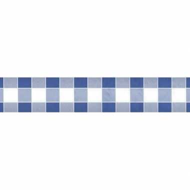 Feestartikelen papieren tafelkleed blauw/witte ruiten 1000 x 118 cm