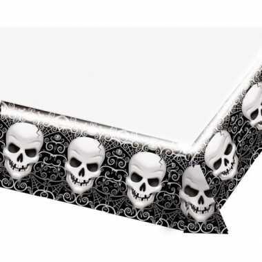 Feestartikelen plastic tafelkleed schedel 137 x 243 cm