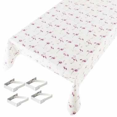 Flamingo print tuin tafellaken voor buiten 140 x 170 cm pvc/kunststof