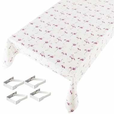 Flamingo print tuin tafellaken voor buiten 140 x 245 cm pvc/kunststof
