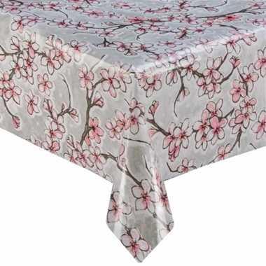 Grijs tuin tafellaken voor buiten kersenbloesem bloemen print 120 x 2